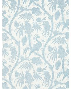Scalamandre Balinese Peacock Wallcovering in Sky Blue