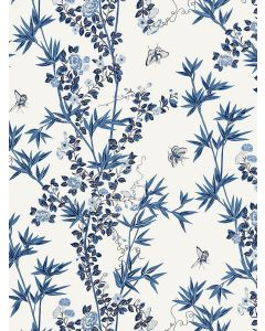 Scalamandre Jardin De Chine Wallcovering in Porcelain Blue & White