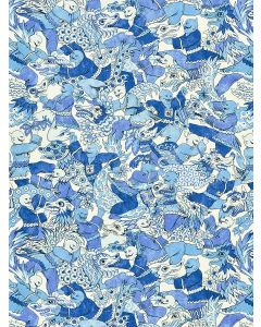 Scalamandre Dragon Dance Chinois Chic Fabric in Porcelain Blue