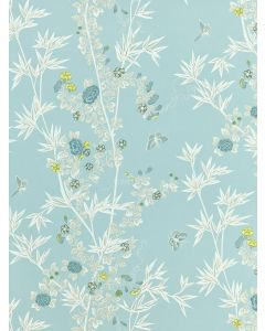 Scalamandre Jardin De Chine Wallcovering in Ciel Aqua