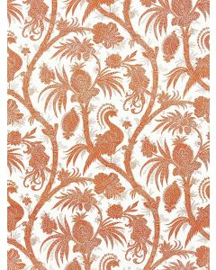 Scalamandre Balinese Peacock Fabric in Mandarin Orange