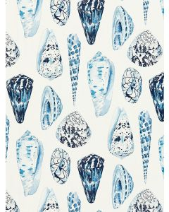 Scalamandre Coquina Linen Fabric in Porcelain Blue & White