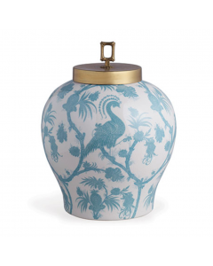 Scalamandre Balinese Peacock Turquoise Porcelain Jar - PREORDER