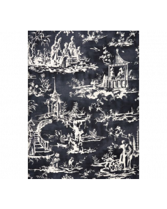Scalamandre Summer Palace Fabric in Charcoal
