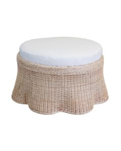 Scalloped Large Round Upholstered Wicker Ottoman - Available in Variety of Finishes