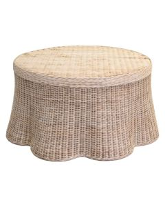 Scalloped Round Wicker Coffee Table - Available in Variety of Finishes