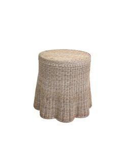 Scalloped Round Wicker Side Table - Available in Variety of Finishes - ON BACKORDER UNTIL MID-MAY 2021