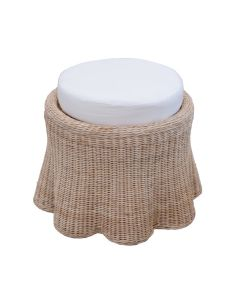 Scalloped Small Round Upholstered Ottoman - Available in Variety of Finishes