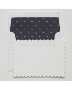Scalloped Bow Design Personal Stationery, Set of 50