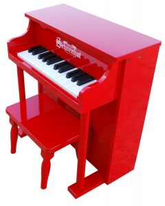 Schoenhut 25-Key Traditional Spinet Toy Piano in Red for Kids