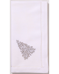 Set of 4 Silver Mod Christmas Tree Dinner Napkins