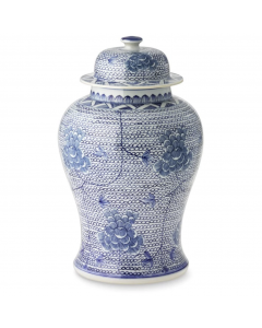 Blue and White Porcelain Temple Jar with Flowers - Small