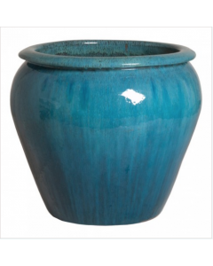 Large Rimmed Garden Planter in Blue Glaze - CALL TO CONFIRM AVAILABILITY