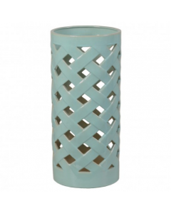Criss Cross Umbrella Stand with Turquoise Glaze