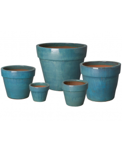 Set of Five Round Flower Garden Pots with Teal Glaze