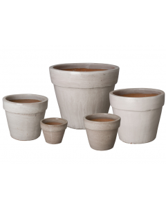 Set of Five Round Flower Garden Pots with Distressed White Glaze