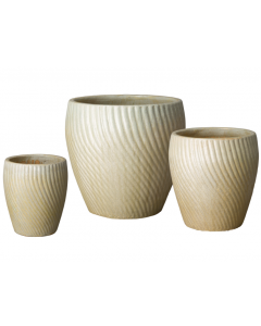Set of Three Spiral Garden Planters with Champagne Glaze - Available in a Variety of Sizes