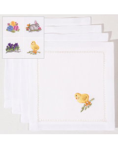 Set of 4 Easter Themed Embroidered Cocktail Napkins