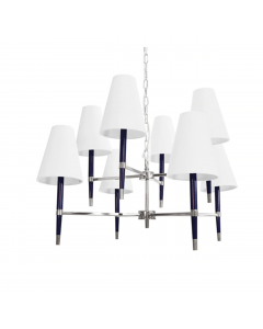 Worlds Away Hines Modern Two Tier Eight Light Chandelier in Nickel and Navy With Shades