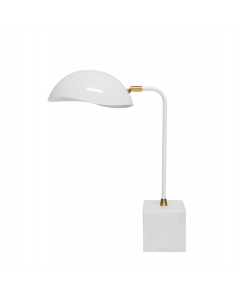 Worlds Away Rizzo White Modern Desk Lamp With Marble Block Base