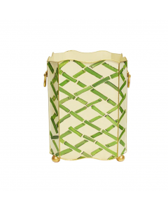 Worlds Away Hand Painted Green Bamboo Wastebasket With Lion Handles
