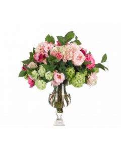 Pink and Green Rose Hydrangea Snowball Arrangement in Glass Urn