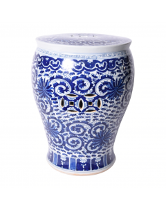 Blue & White Porcelain Twisted Lotus Drum Shaped Garden Stool