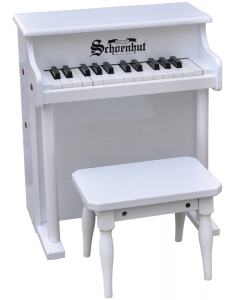 Schoenhut 25-Key Traditional Spinet Toy Piano in White for Kids