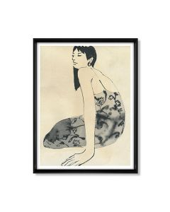 Seated Woman in Dress Black & White Framed Wall Art Print