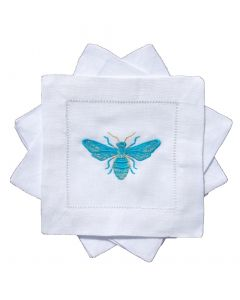 BARGAIN BASEMENT ITEM: Set of Four Bees Knees Embroidered Turquoise Butterfly Cocktail Napkins - IN STOCK IN GREENWICH, CT