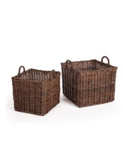 Set of 2 Normandy Square Baskets With Handles