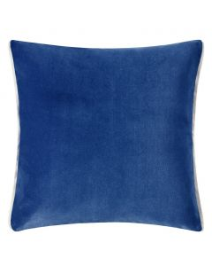 Set of 2 Velvet Square Reversible Decorative Pillows in Marine Blue and Denim Blue