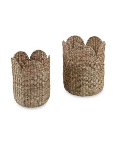 Set of 2 Woven Round Storage Baskets with Scalloped Tops