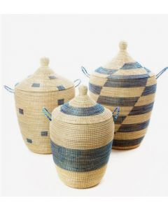 Set of Three Blue and Cream Mixed Pattern Hampers
