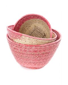 Set of Three Nesting Zambian Table Baskets in Pink & Natural