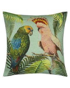 Set of Two Parrot and Palm Linen Decorative Throw Pillow