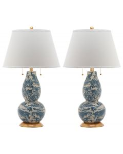 Set of 2 Christopher Marble Swirls Glass Table Lamps in Blue and White
