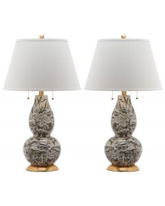 Set of 2 Christopher Marble Swirls Glass Table Lamps in Grey and White