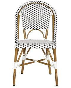 Set of 2 Riviera Indoor/Outdoor Stacking Side Chairs in Black and White