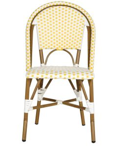 Set of Two Riviera Salcha Indoor/Outdoor Stacking Side Chairs in Yellow and White