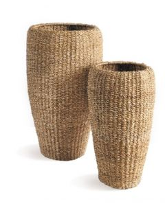 Set of Two Tall Round Seagrass Planters - ON BACKORDER UNTIL LATE APRIL 2021