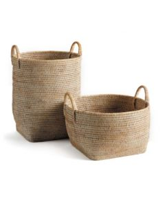 Set of Two Whitewashed Rattan Orchard Baskets with Handles - ON BACKORDER UNTIL JUNE 2021