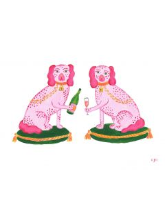 Set of 12 Pink and Green Champagne Puppies Note Cards