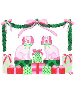 Set of 12 Pink and Green Christmas Puppies Note Cards