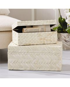 Set of 2 Basketweave Bone Boxes - ON BACKORDER UNTIL DECEMBER 2020