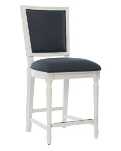 Set of 2 Distressed White and Navy French Counter Stools