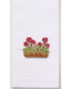 Set of 2 Embroidered Cotton French Geranium Hand Towels