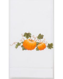 Set of 2 Pumpkin With Vine Embroidered Cotton Hand Towels