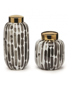 Set of 2 Hand Painted Porcelain Brush Strokes Black and White Covered Jars with Gold Metallic Lid