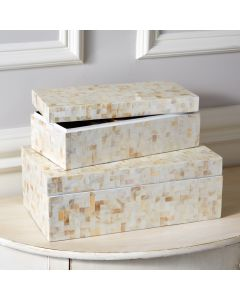 Set of 2 Lamina Mother of Pearl Covered Boxes with Herringbone Pattern - ON BACKORDER UNTIL EARLY SEPTEMBER 2019